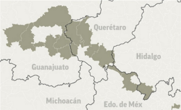 Central Corridor 5 states and 21 municipalities with Queretaro as