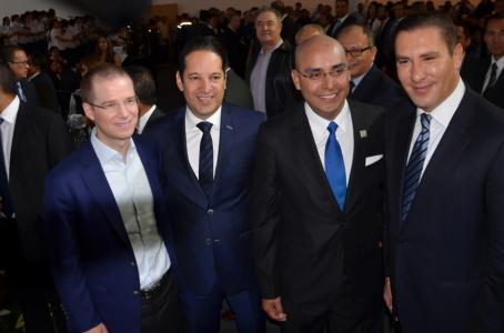 Mayor Marcos Aguilar, PAN's National President Ricardo Anaya, Queretaro Governor Francisco Domínguez, and Puebla Governor Rafael Moreno (photo: el financiero).