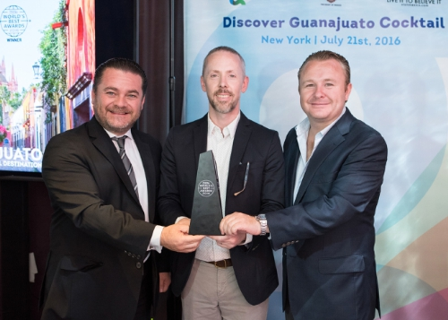 Pictured (Left to Right): Secretary of Tourism for the State of Guanajuato, Mexico, Mr. Fernando Olivera Rocha; Mr. Jeffries Blackerby, Executive Editor, Travel + Leisure; and Mr. Ricardo Villareal Garcia, Mayor, City of San Miguel de Allende. (PRNewsFoto/Guanajuato's Secretary of Touri)