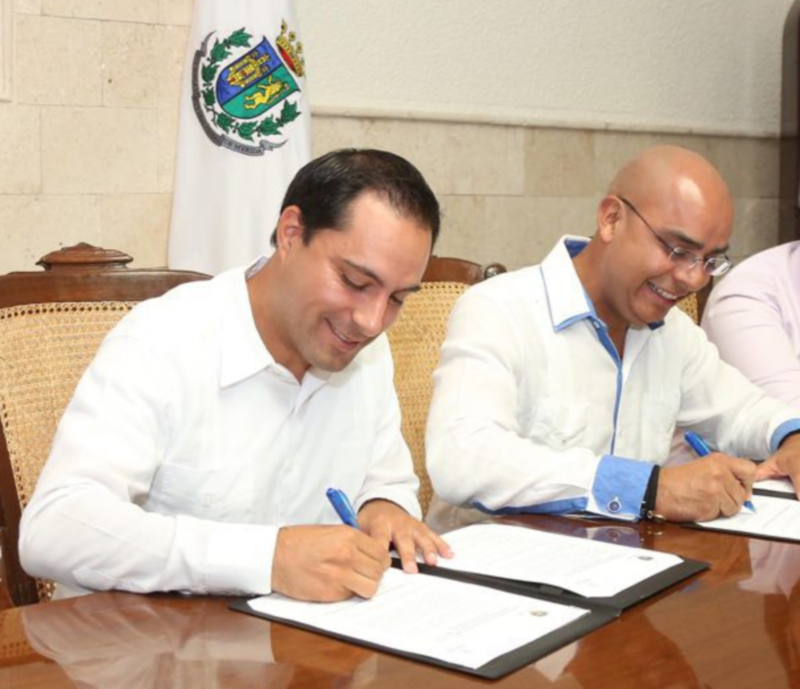 The mayors Mauricio Vila Dosal y Marco Aguilar Vega, from Mérida y Querétaro,