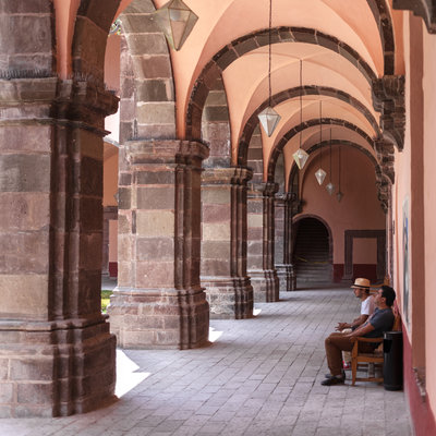 "Cloister of a former convent, now a public cultural center. Locally known as Bellas Artes, its official name is ""Centro Cultural Ignacio Ram?rez, El Nigromante"". Historic Center of San Miguel de Allende, a Unesco World Heritage Site, Guanajuato State, Mexico."