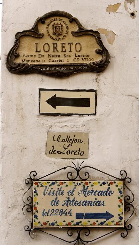 Street signs in San Miguel de Allende, Mexico. San Miguel de Allende is a UNESCO World Heritage Site.
