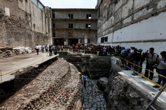 New Aztec discoveries including the main temple of the wind god Ehecatl, a major deity, as well as an adjacent ritual ball court, located just off the Zocalo plaza in the heart of downtown Mexico City. PHOTO: REUTERS/Henry Romero