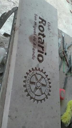 Club Rotario insciption on SMA Peace Pole (Photo: Robin Loving)
