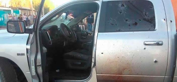 Celaya's Police Chief J. Santos Juarez Rocha pick-up truck after the shooting (Photo: Proceso)