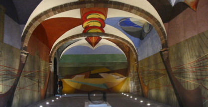 Unfinished 1940s mural painted by David Alfaro Siqueiros, in Escuela de Bellas Artes cultural center, an art school in a former convent, San Miguel de Allende, Mexico.