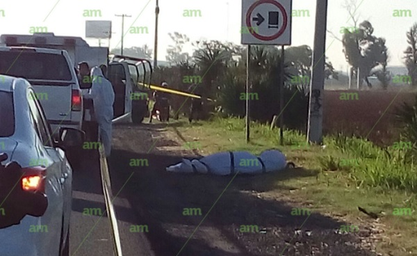 human remains were found inside two plastic bags on the Irapuato-Salamanca federal highway 45 (Photo AM)