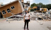 """Ana Maria Hernandez Ana Maria Hernandez, 37, a clothing salesperson, poses for a portrait outside her house as it is demolished after an earthquake in Jojutla de Juarez, Mexico, September 30, 2017. Her house was badly damaged. Hernandez is living with relatives and hopes to return home once it is rebuilt. """"I lost everything. My aunt died here,"""" she said. (Photo: Edgard Garrido/Reuters)"""