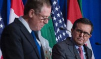 Mexican Finance Minister Ildefonso Guajardo (R) and US Trade Representative Robert Lighthizer, seen here last month in Washington, are meeting in Mexico City with Canadian Foreign Minister Chrystia Freeland for a fifth round of talks on NAFTA (AFP Photo/ANDREW CABALLERO-REYNOLDS)