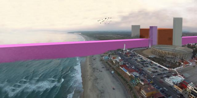pink border wall in Tijuana 2