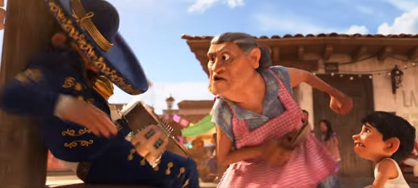 Both Pueblito and Abuelita (voiced by Renée Victor) are fans of using a chancla as a fear-inducing tool of discipline.