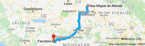Tancítaro is only 214 miles southwest of San Miguel (Image: Google)