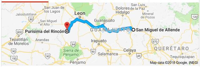 Purísima del Rincón is located 90 miles west of SMA (Google)