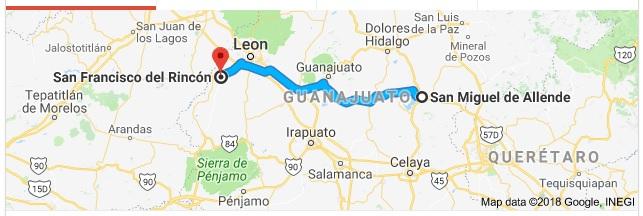 San Francisco del Rincón is located 100 miles west of SMA (Google)