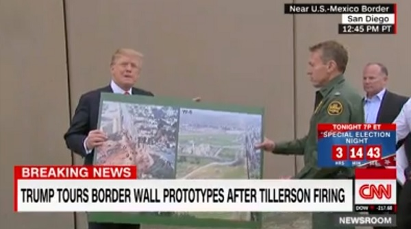 trump tours wall prototypes
