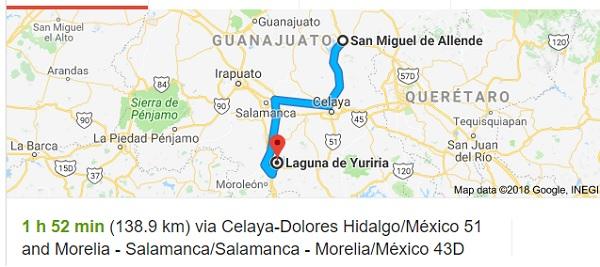 The Yuriria Lagoon is located 90 miles south of San Miguel de Allende (Google)