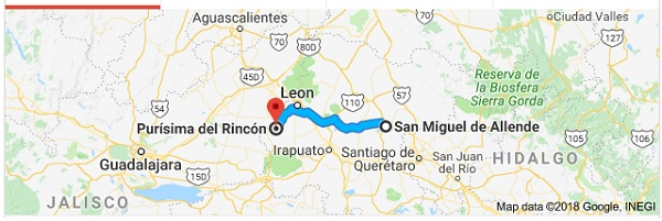 Jalpa de Cánovas (Municipality of Purisima del Rincon) is located 144 km (90 miles) east of SMA) Image: Google Maps