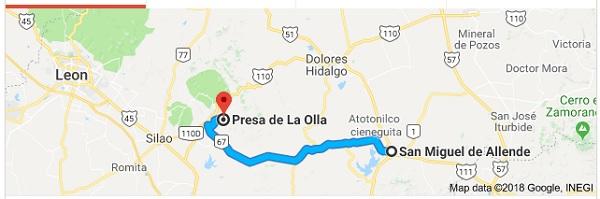 La Presa de la Olla is 48 miles west of SMA (Google)