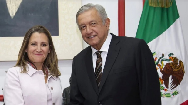 Canada's Foreign Affairs Minister Chrystia Freeland, left, and Mexico's President-elect Andres Manuel Lopez Obrador pose for a photo at Lopez Obrador's campaign headquarters, in Mexico City, Wednesday, July 25, 2018. (Press Office of Andres Manuel Lopez Obrador/The Associated Press)
