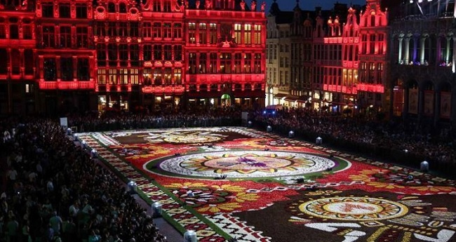 This carpet was showcased in Belgium earier this year. The carpet is prepared every two years and incorporates themes for across the globe which signifies special flower traditions. (Image Credit: Twitter)