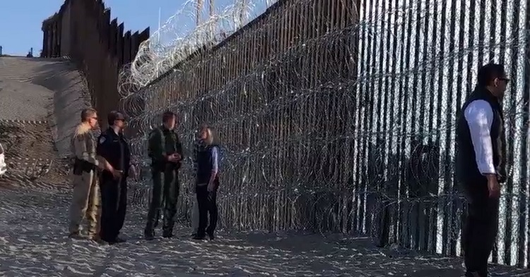 Homeland Security Secretary Kirstjen Nielsen visited a San Diego beach on Tuesday, examining up close the newly installed razor wire on the US-Mexico border fence. She said the Central American caravan includes criminals and gang members. (Nov. 21) AP
