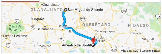 Amealco is located 148 kilometers (93 miles) south of SMA (Google)